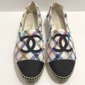 Chanel Espadrilles Colorful Pink Blue Multi Tweed